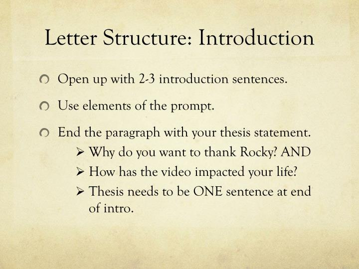 Letter Structure: Introduction