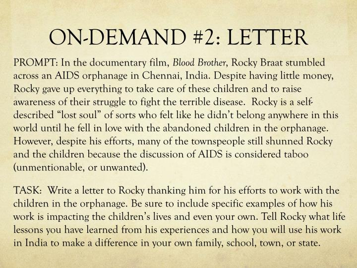 ON-DEMAND #2: LETTER