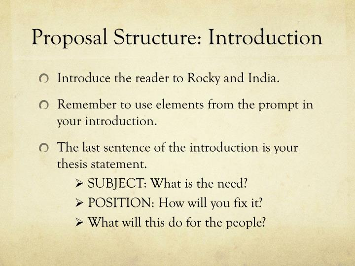 Proposal Structure: Introduction