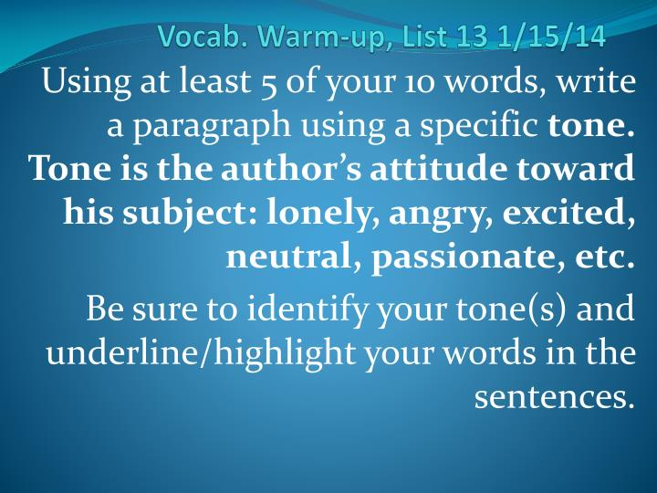 vocab warm up list 13 1 15 14 n.