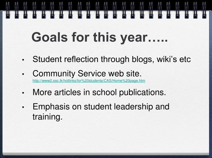 Goals for this year…..