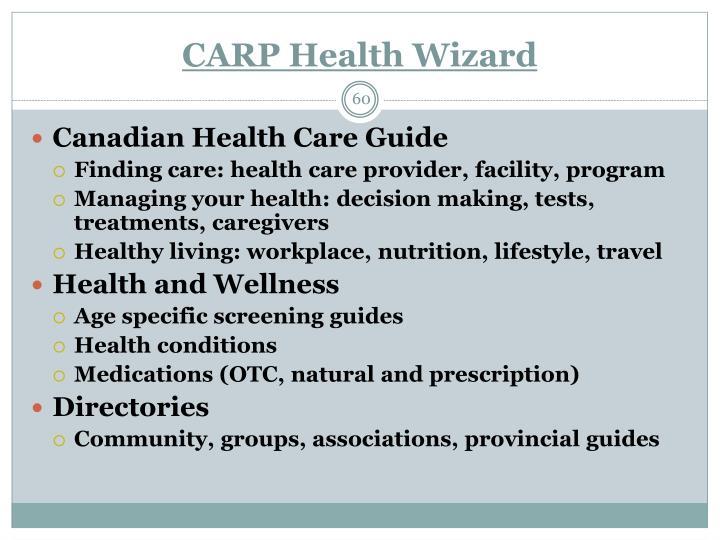 CARP Health Wizard