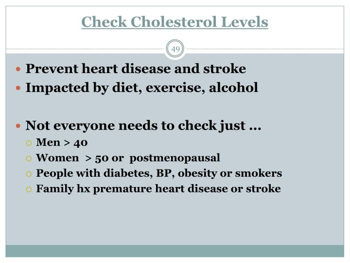 Check Cholesterol Levels