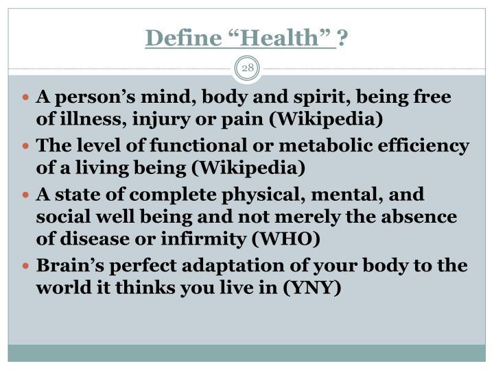 """Define """"Health"""""""