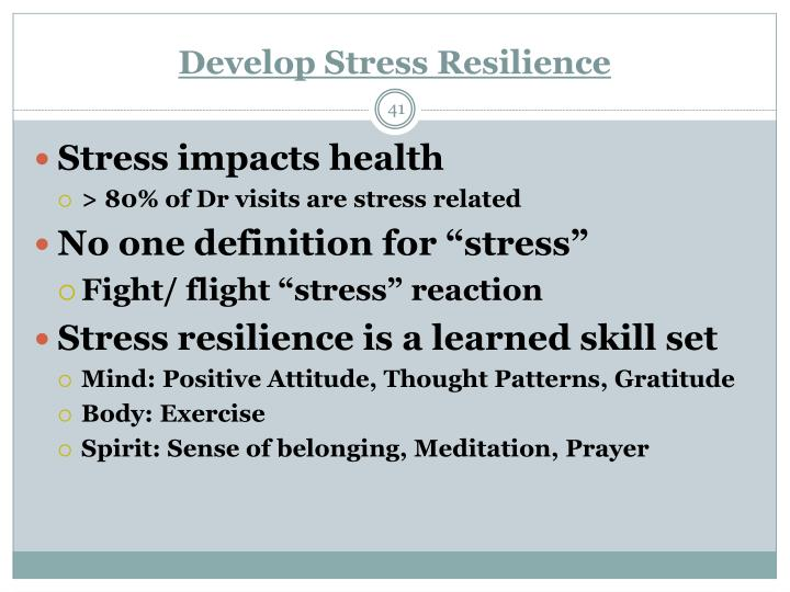 Develop Stress Resilience