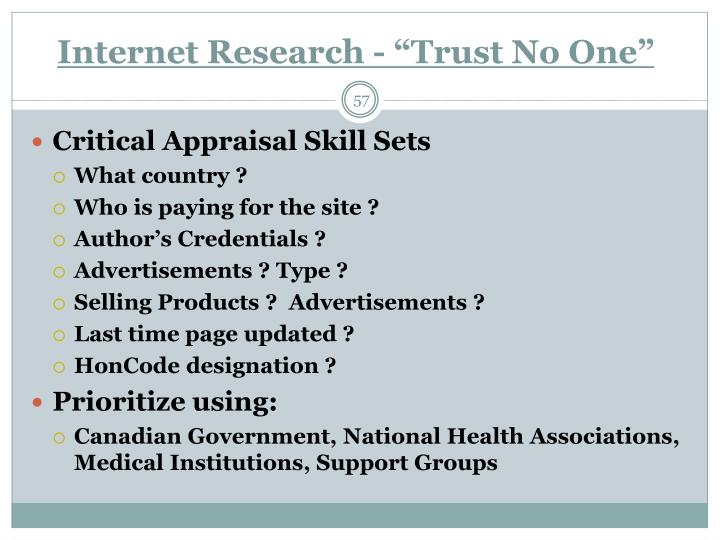 """Internet Research - """"Trust No One"""""""