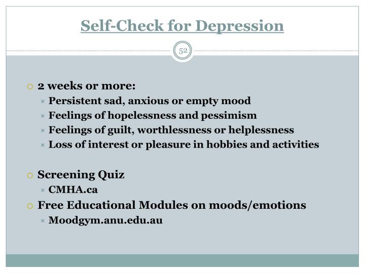 Self-Check for Depression