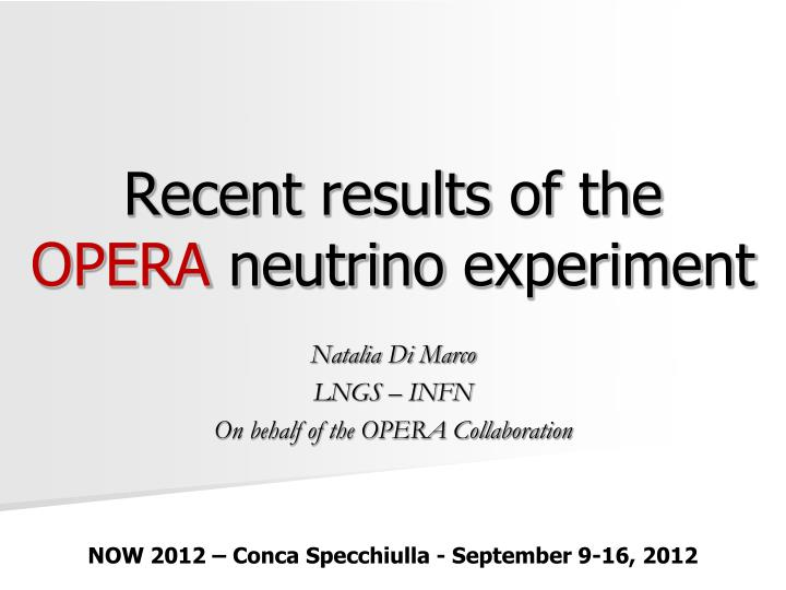 recent results of the opera neutrino experiment n.