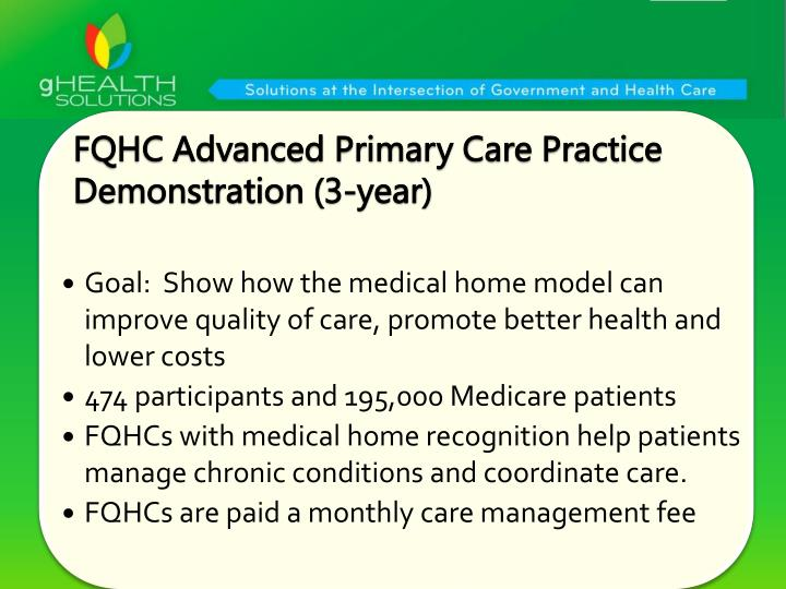 FQHC Advanced Primary Care Practice Demonstration (3-year)