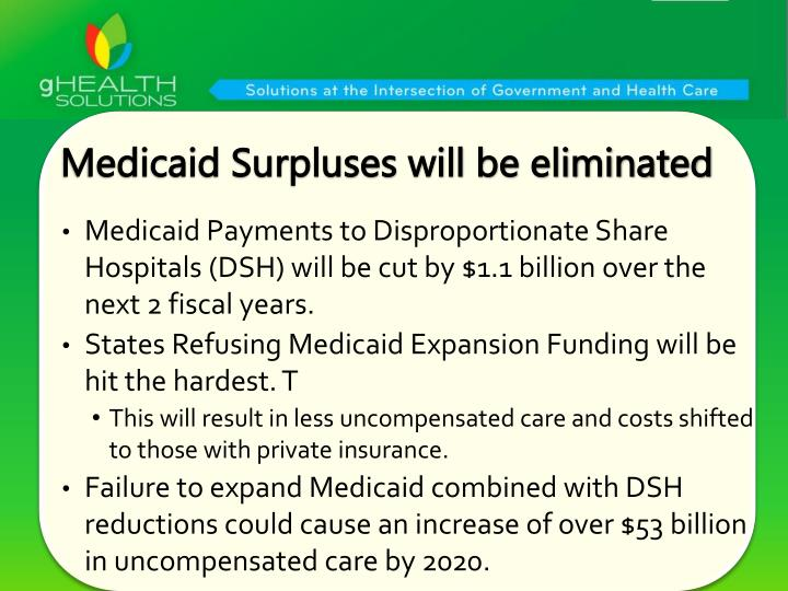 Medicaid Surpluses will be eliminated