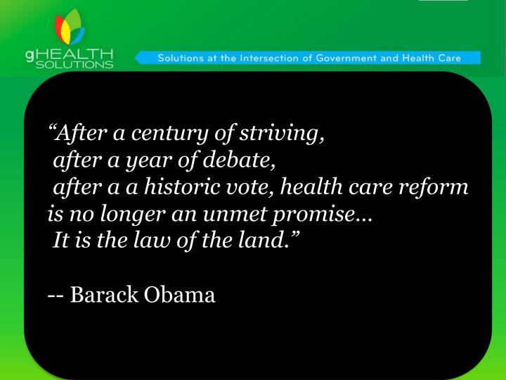 """""""After a century of striving,"""