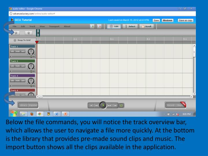 Below the file commands, you will notice the track overview bar, which allows the user to navigate a file more quickly