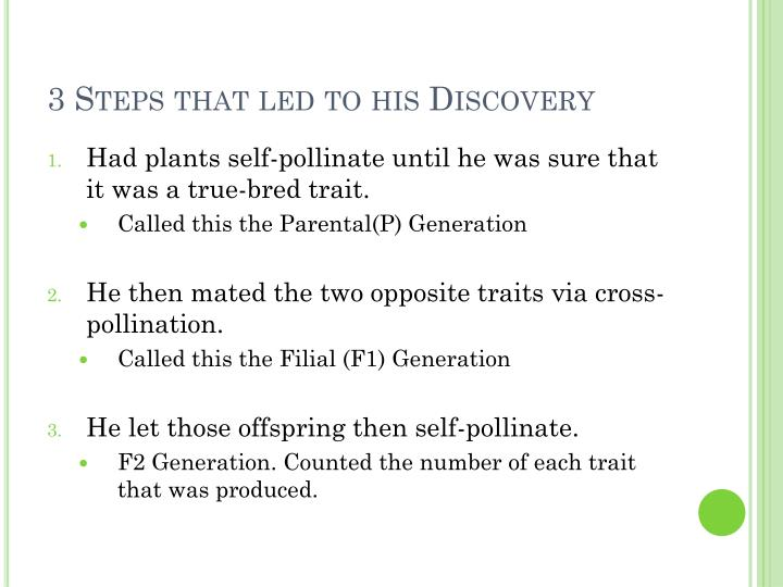 3 Steps that led to his Discovery