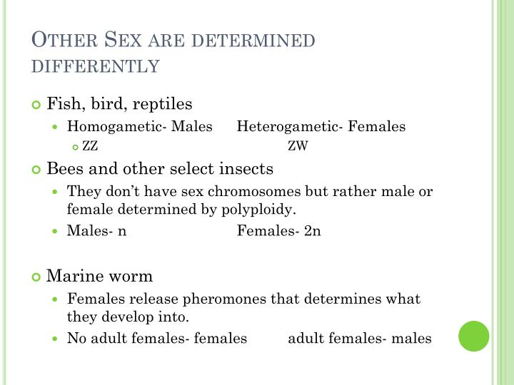 Other Sex are determined differently