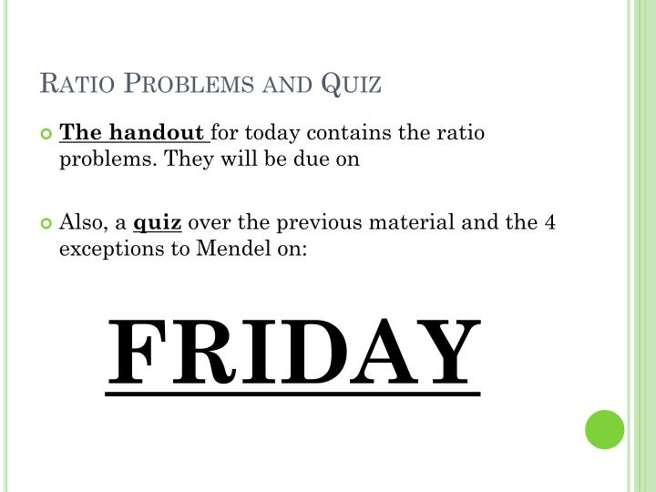 Ratio Problems and Quiz