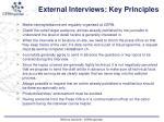 external interviews key principles