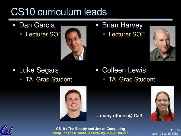 CS10 curriculum leads
