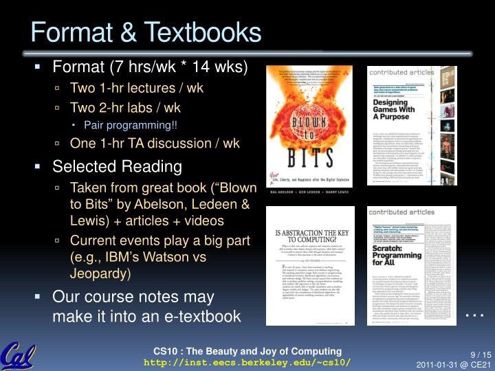 Format & Textbooks