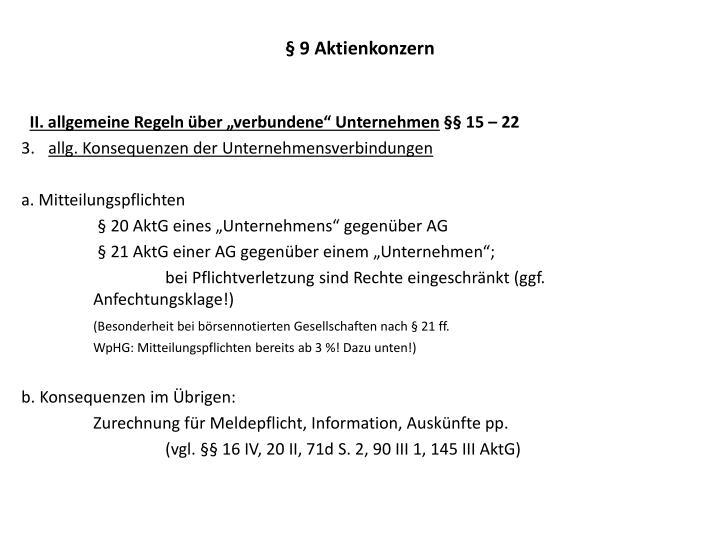 § 9 Aktienkonzern