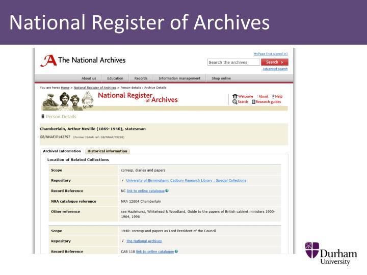 National Register of Archives