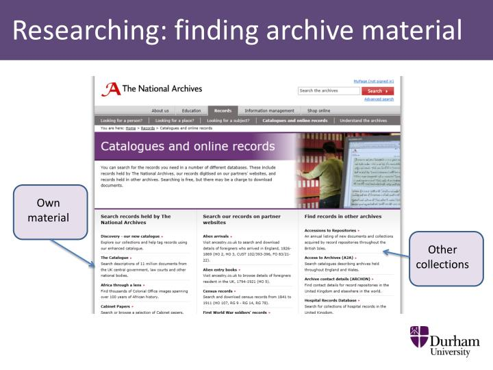 Researching: finding archive material