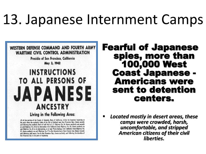 13. Japanese Internment Camps
