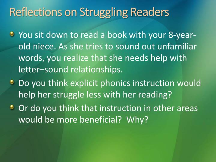 Reflections on struggling readers