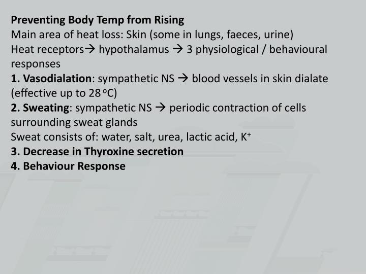 Preventing Body Temp from Rising
