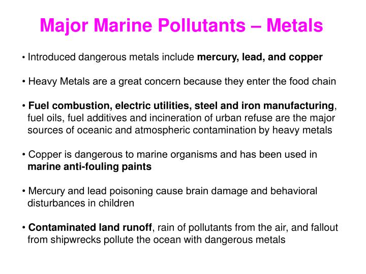 Major Marine Pollutants – Metals