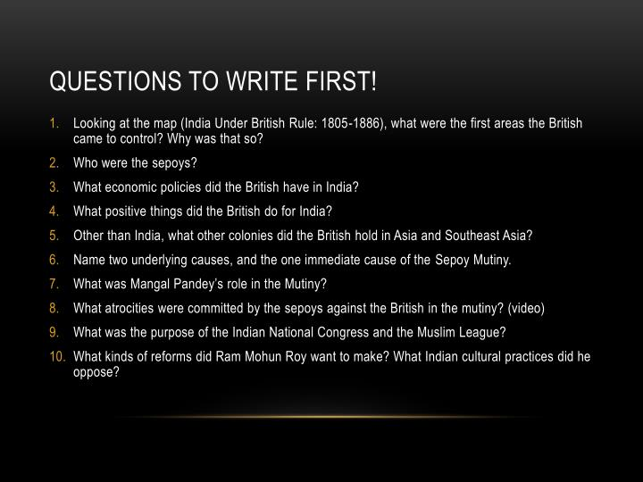 Questions to write first