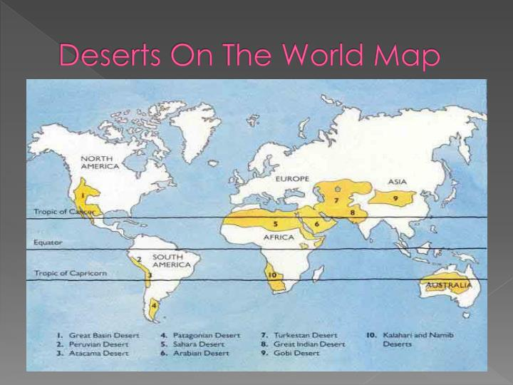 Deserts on the world map