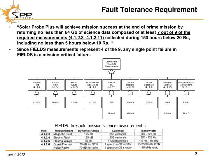 Fault tolerance requirement