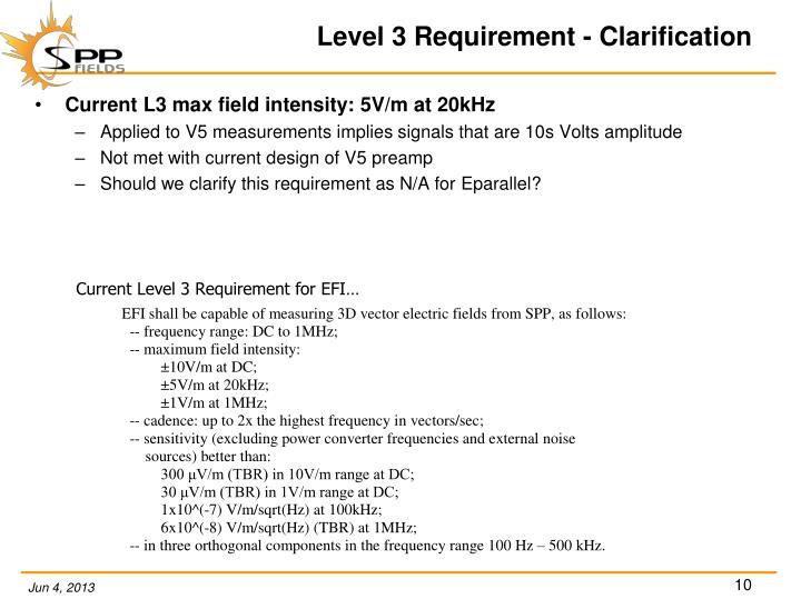 Level 3 Requirement - Clarification