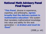 national math advisory panel final report