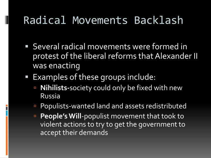 Radical Movements Backlash
