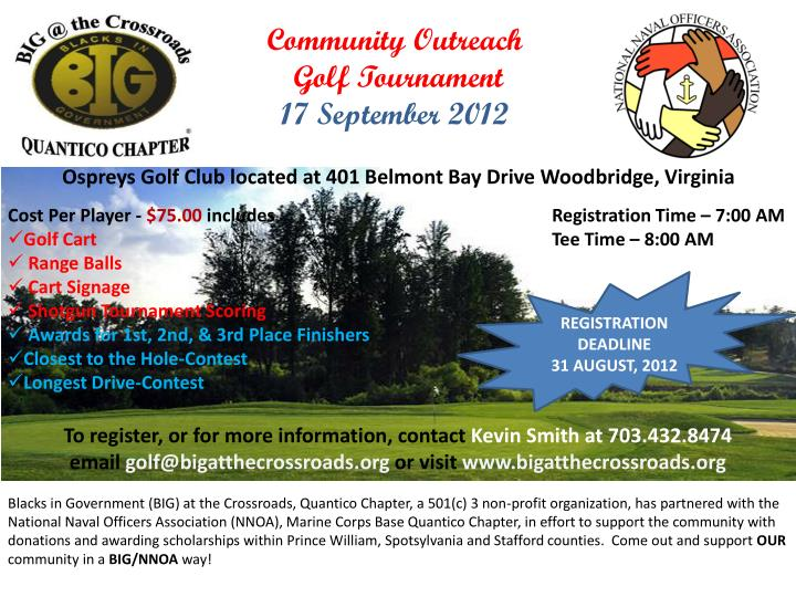 community outreach golf tournament 17 september 2012 n.