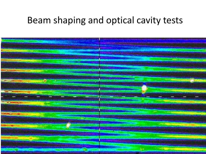 Beam shaping and optical cavity tests