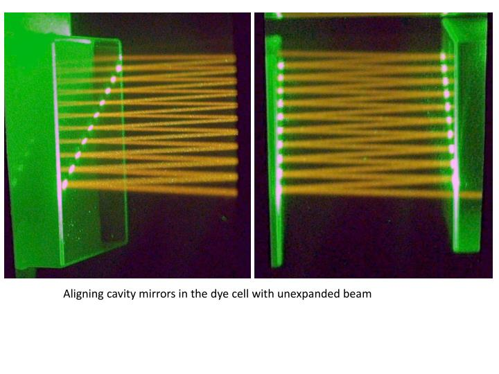 Aligning cavity mirrors in the dye cell with unexpanded beam