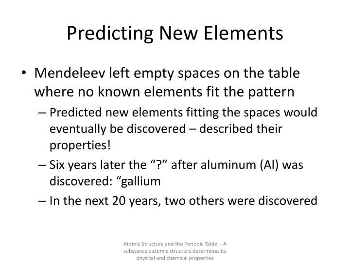 Predicting New Elements