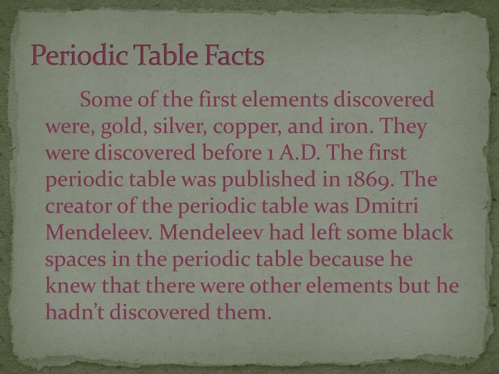 Periodic Table Facts