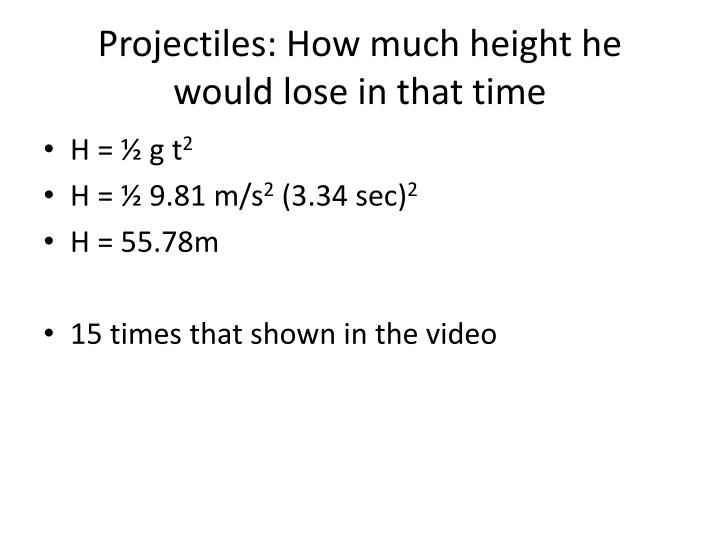 Projectiles: How much height he would lose in that time