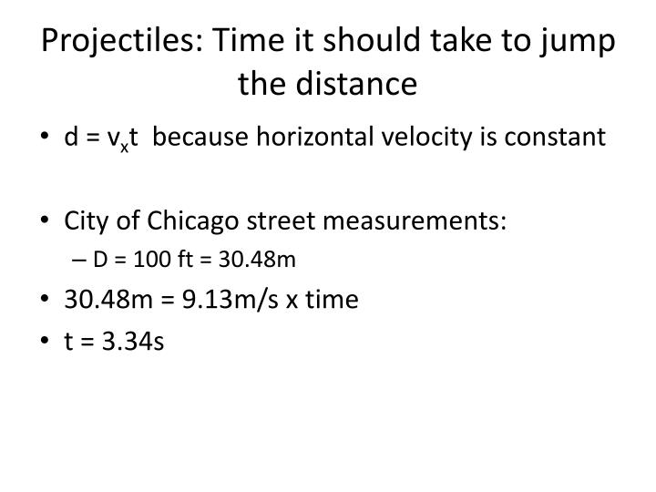 Projectiles: Time it should take to jump the distance