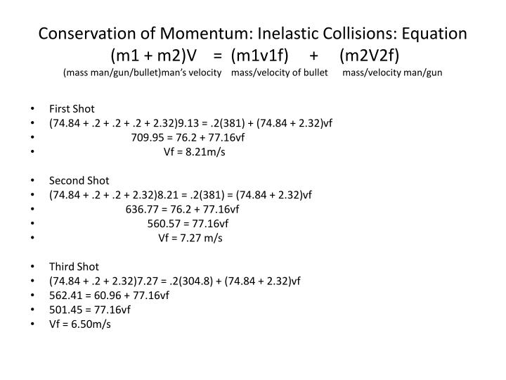 Conservation of Momentum: Inelastic Collisions: Equation