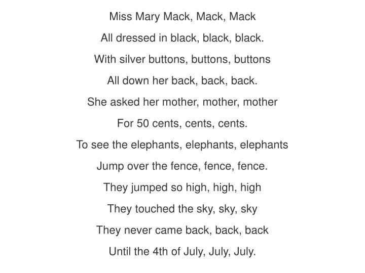 Miss Mary Mack, Mack, Mack