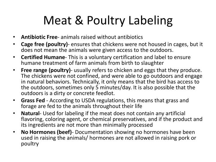 Meat poultry labeling