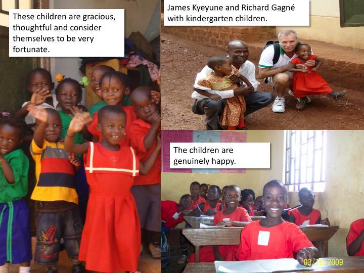 James Kyeyune and Richard Gagné with kindergarten children.