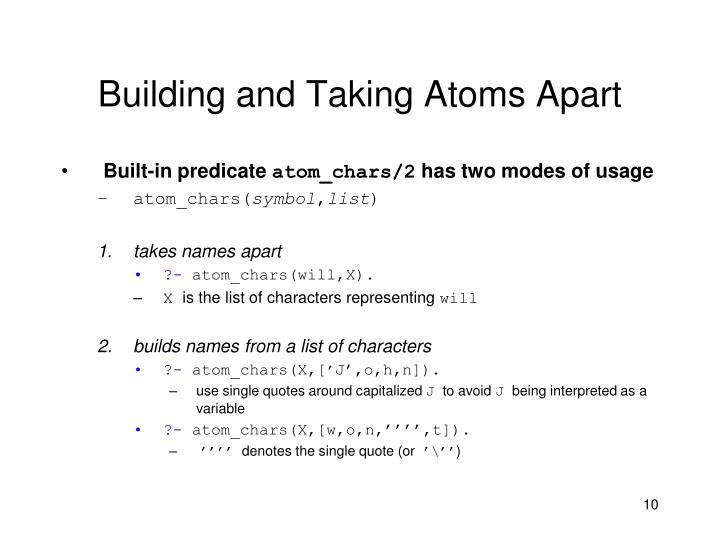 Building and Taking Atoms Apart