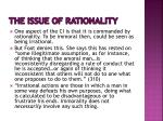 the issue of rationality