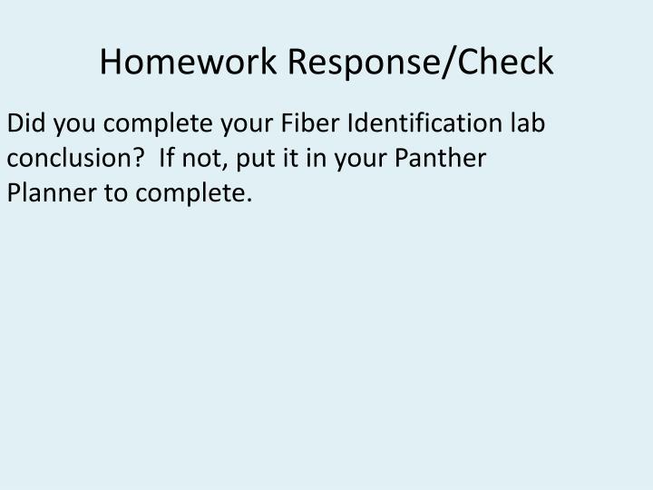 Homework response check