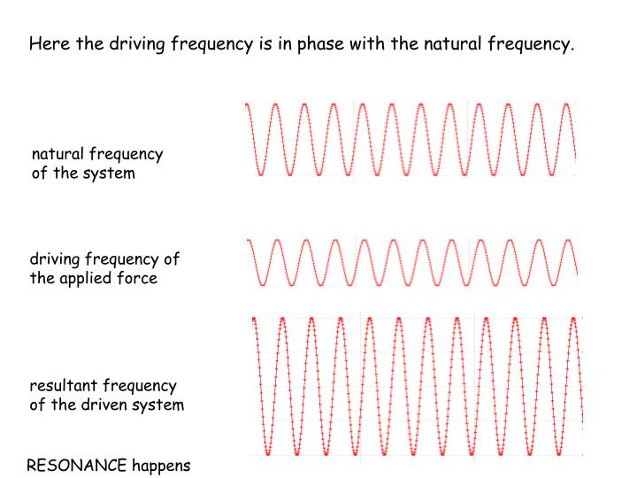 Here the driving frequency is in phase with the natural frequency.
